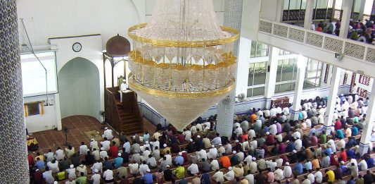 Friday prayers by Muslims